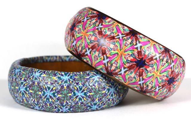 polymer clay confetti bangles