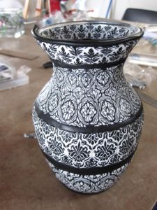 polymer clay damask vase