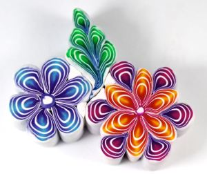 polymer clay quilled flower cane