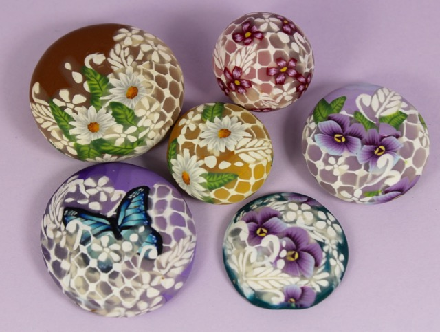 Polymer clay translucent lace cane beads