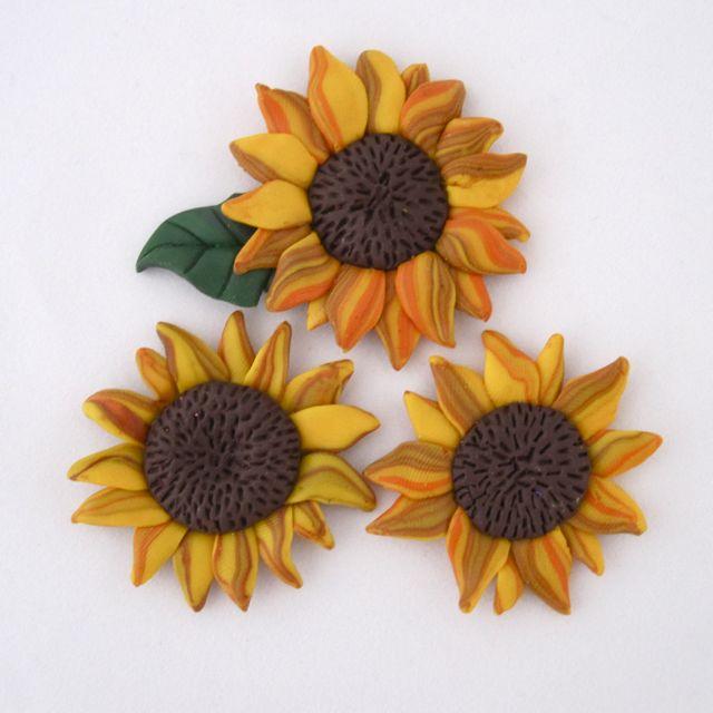 Clay Flowers Tutorials: Polymer Clay Sunflower Magnet Tutorial