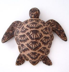 wood inlay sea turtle