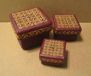 polymer clay nesting boxes