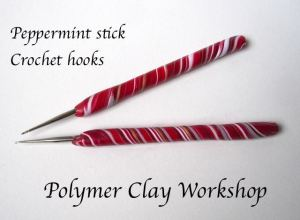polymer clay peppermint crochet hooks