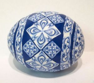 blue polymer clay egg