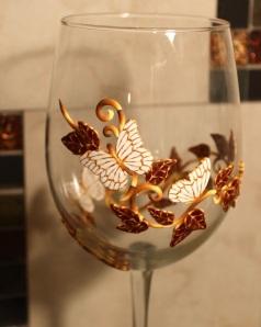 polymer clay on wine glass