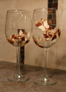 white butterfly wine glasses