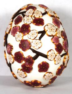 white cherry blossom egg