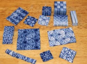 Polymer clay Indigo Shibori samples