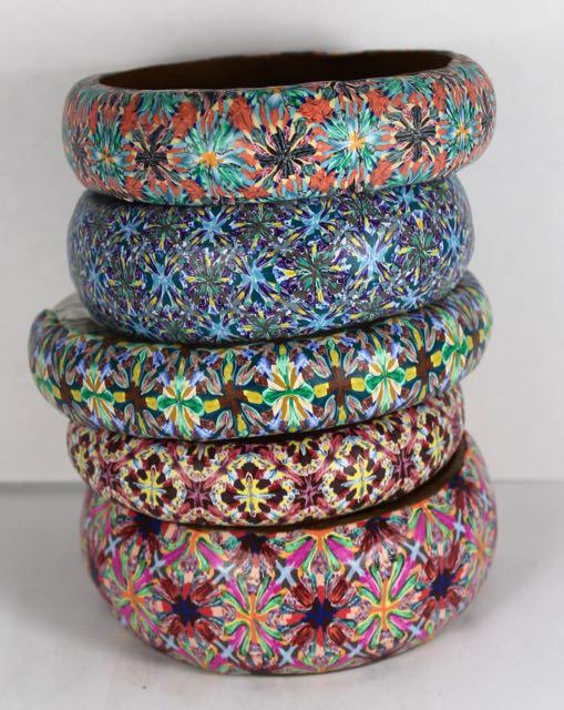 Polymer clay boho bangles