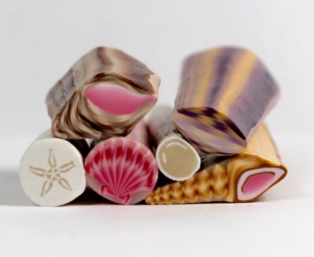polymer clay sea shell canes murrini