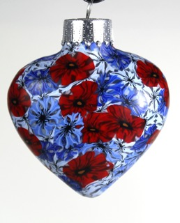cornflower and poppy heart