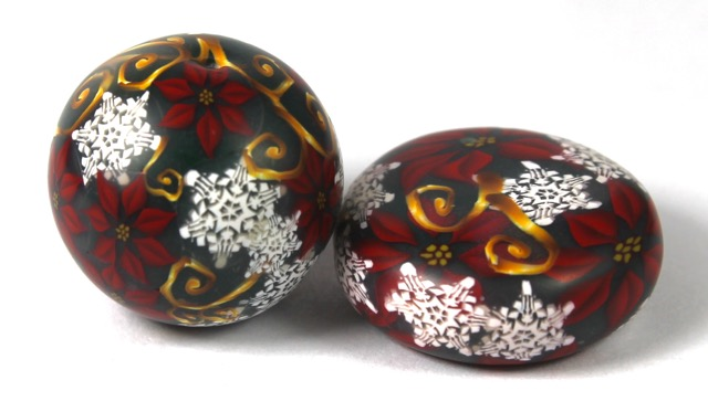 Polymer clay Christmas cane beads