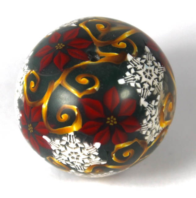 Polymer Clay Poinsettia Cane Bead