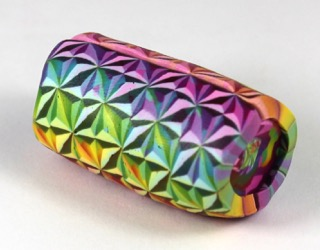Polymer clay cane rainbow bead